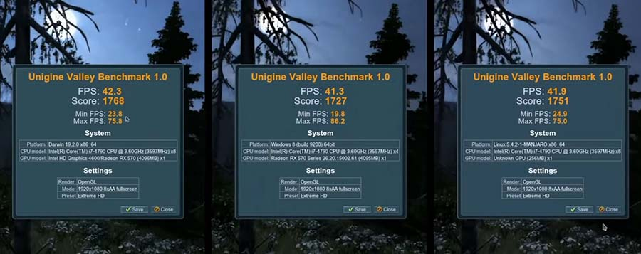 Benchmark 1.0 Valley Windows Linux Mac OS сравнение